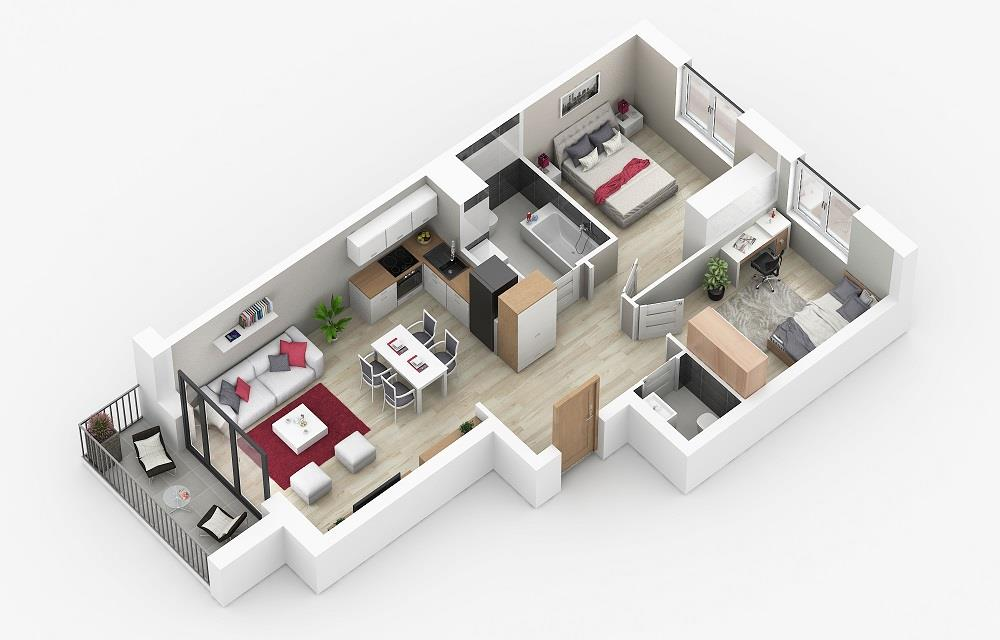 Rzut mieszkania: 3.C.101