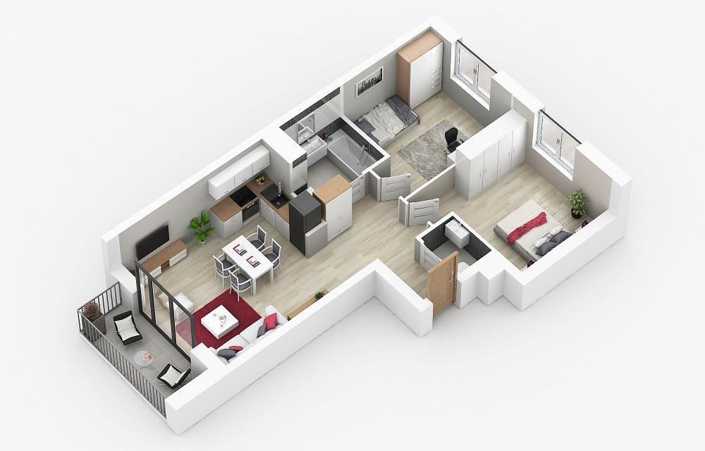 Rzut mieszkania: 2.B.62