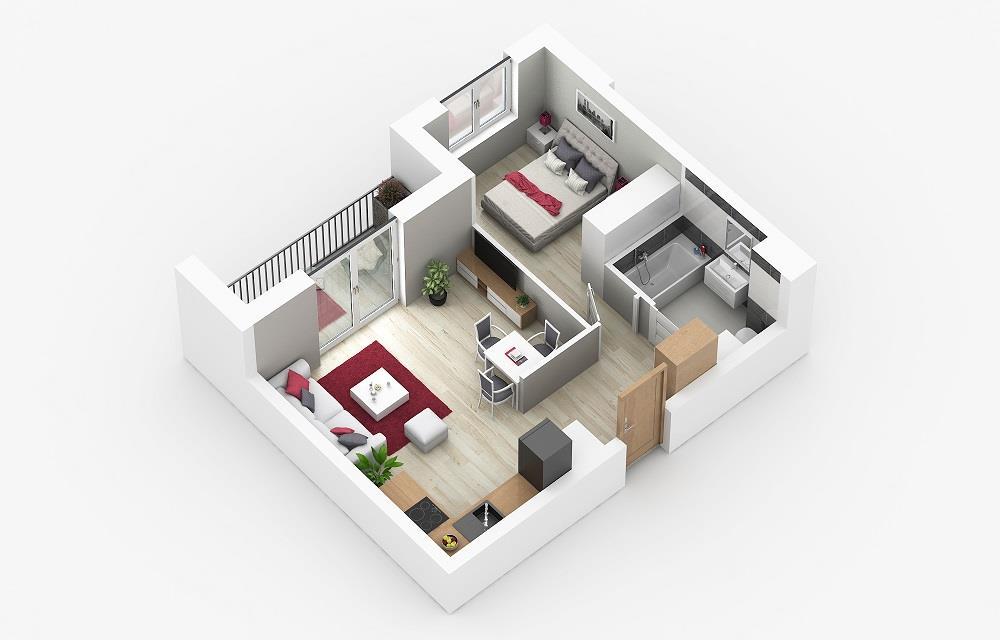 Rzut mieszkania: 3.B.65