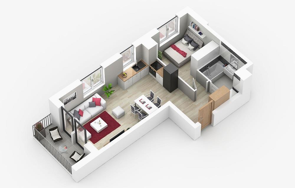 Rzut mieszkania: 1.A.14