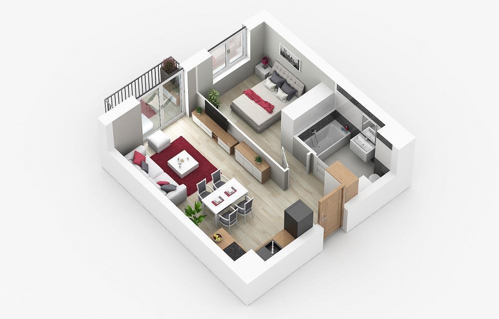 Rzut mieszkania: 1.B.56