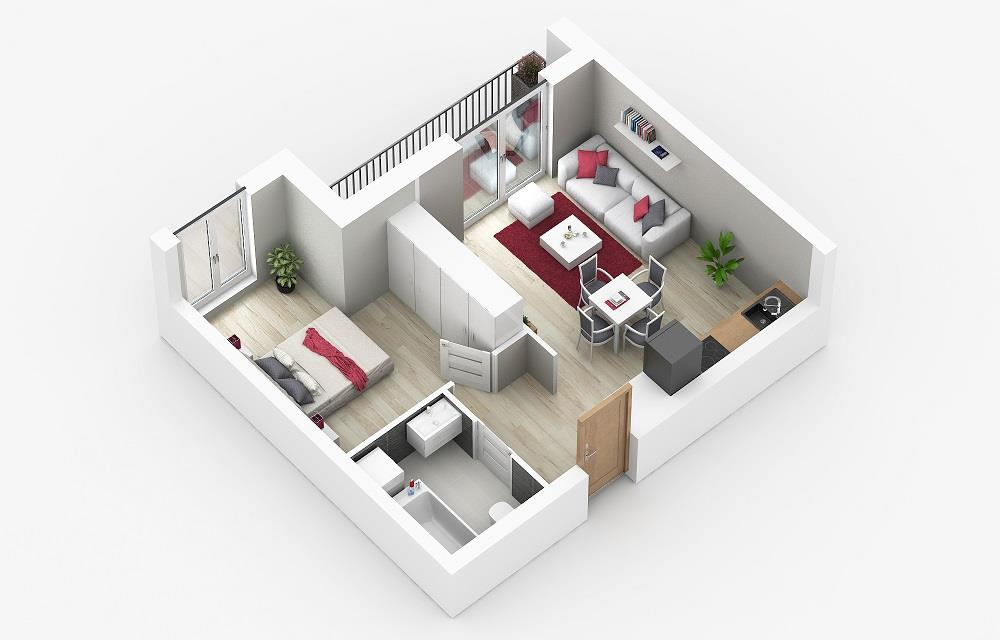 Rzut mieszkania: 1.C.90